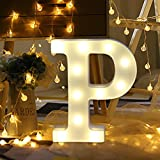 Transer Alphabet LED Letter Lights, LED Marquee Warm White Light Up Letters Sign For Wedding Birthday Home Party Bar Decoration Night Light Lamp (P)