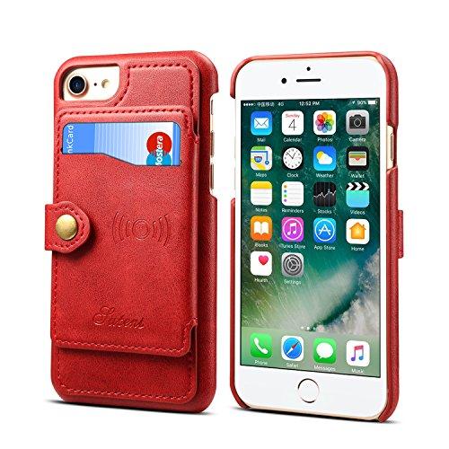 Leder-Schutzhülle für iPhone 6 7 8 Apple,Kartenfächer, Standfunktion, schlank, weich, rot Otterbox Armor Serie
