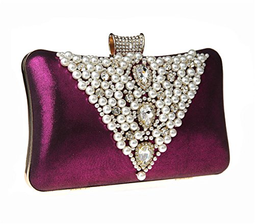 UK_Stone Handmade Modisch Damen V Stil Perlen Beaded Clutch Strassstein Party Handtasche Abendtasche Lila