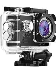 nexgadget Caméra Sport WiFi étanche IP68FHD 1080P 12MP Image et vidéo étanche jusqu'à 30m Grand angle objectif de 140degrés avec accessoires multiples