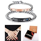 Pärchen Herren Damen Armband 2PCS, Edelstahl King Queen mit Gravur Armbänder Lieben Partnerarmbänder schwarz rosegold
