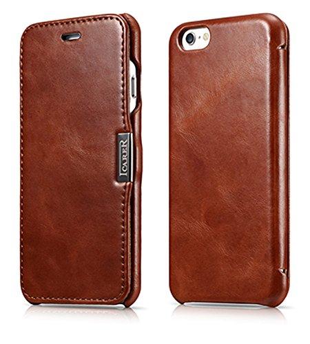 Luxus Tasche für Apple iPhone 6S und iPhone 6 (4.7 Zoll) / Case Außenseite aus Echt-Leder / Schutz-Hülle seitlich aufklappbar / ultra-slim Cover / Vintage Look / Dunkel-Braun