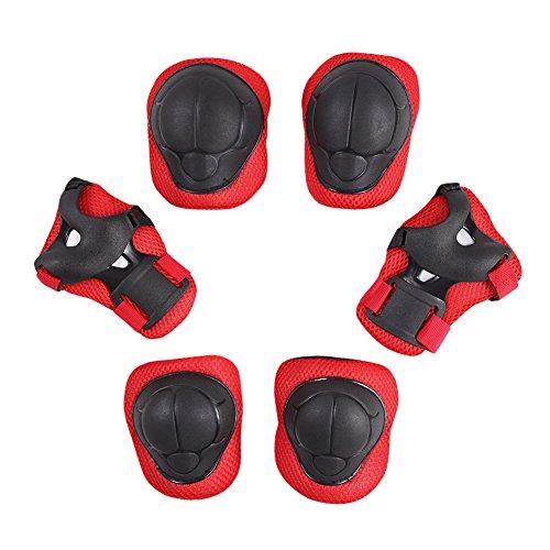 CHIC-CHIC 6 pcs Kinder Schutzausrüstung Sets Skater Armschoner Knieschoner Handgelenk Ski Schutz Roll (Rot)