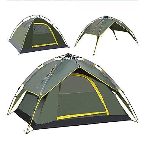 Tente de Camping Famille 3-4 Personnes Double Couche et 2 Portes , Double usage , Sac de Transport Comprend , Armée vert