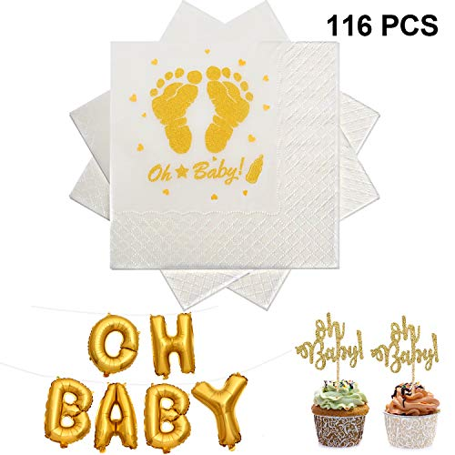 che Servietten Golden Balloon Banner Cupcake Topper für Baby Dusche Party Dekoration Geschlecht Baby Neutral Party Vorräte ()