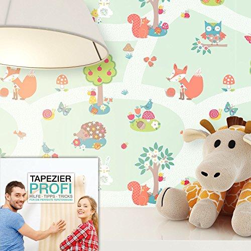 ... Tapete Kinderzimmer Grün Mit Niedlichen Wald Tiere,schöne Süße Tapete  Für Das Babyzimmer , Inklusive