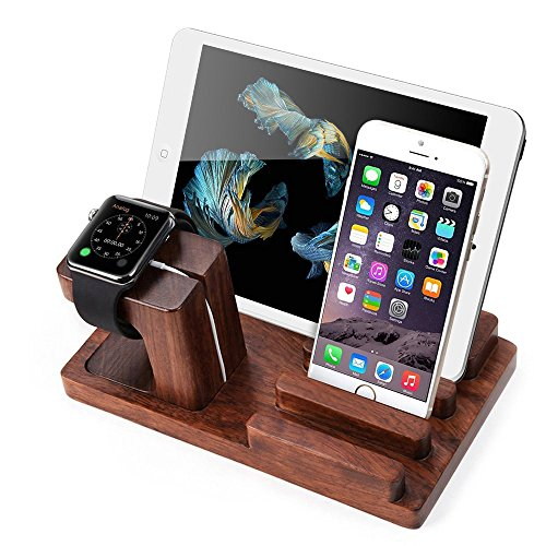 Galleria fotografica xphonew legno di Rosewood Docking Station Dock di ricarica supporto per Apple Watch e supporto per iPhone 7 6 6S Plus SE 5 5S, iPad 3/4 Air Pro 2 Mini 2 3 4 Samsung Glaxy S8 Plus S7 Edge S7 S6 S5 Note 2 3 4 5 e Smartphones e Tablets