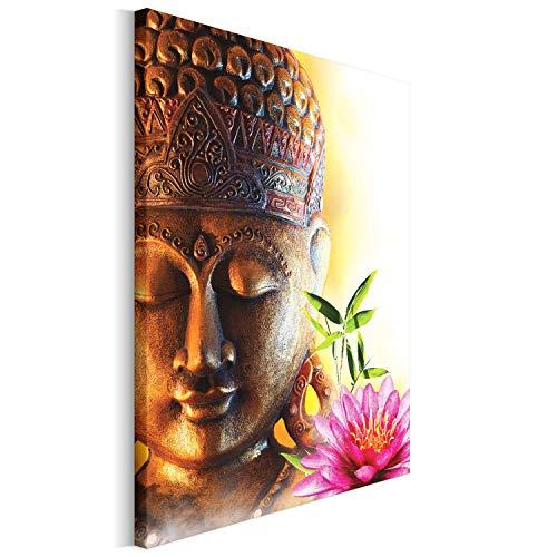 einwandbild - Wandbilder - Kunstdruck - Design - Leinwandbilder auf Keilrahmen 1 Teilig - Wanddekoration - Größe: 40x50 cm - Buddha Lotus braun ()