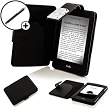 Forefront Cases® E-reader Kindle, pantalla táctil antirreflejos de 6'' (15,2 cm), Wi-Fi (generación anterior - 7ª) Funda Carcasa Stand Smart Case Cover Protectora Plegable de Cuero con la luz LED de Lectura + Lápiz óptico