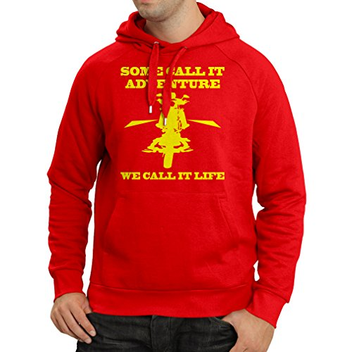 N4689H Kapuzenpullover We Call it Life! Motorcycle Clothing (XX-Large Rot Mehrfarben)