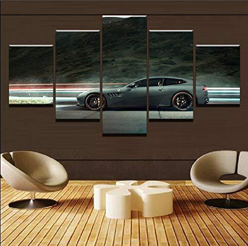 mmwin Moderne Leinwand Für Wohnzimmer HD Wohnkultur 5 Panel Berg Und Sportwagen Poster Drucken Bild Wandkunst Modulare Poster -