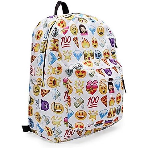 Zedtom Emoji Zaino libro Sacchetto Zaini Uomini scuola Femmina Pacchetto Tela Zaini Ragazza/Donna Daypacks(Multicolore)