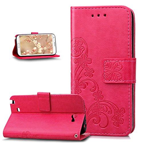 Kompatibel mit Galaxy Note 2 Hülle,Galaxy Note 2 Lederhülle,Prägung Klee Blumen Muster PU Lederhülle Handyhülle Taschen Flip Wallet Ständer Etui Schutzhülle für Galaxy Note 2,Klee Blumen:Rose Red - La Rose 2 Tasche