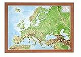 Europa klein 1:16.000.000 mit Rahmen: Reliefkarte Europa klein mit Holzrahmen -