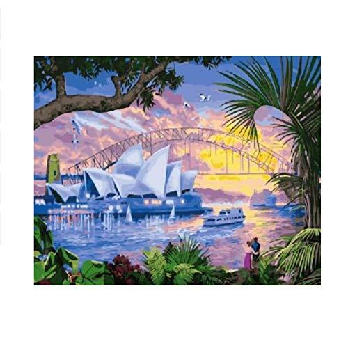 Yangll Fantastische Australien Landschaftsmalerei Nach Zahlen Auf Leinwand DIY Digitale Farbe Nach Anzahl Kits Für Wohnzimmer Nach Hause, Keine Gerahmte ()