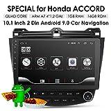 """Système de Navigation GPS pour Honda Accord 7 2003-2007 10,1"""" 16 Go Android 9.0 Système A/C Contrôle vidéo 1080p Bluetooth Mirror Link..."""