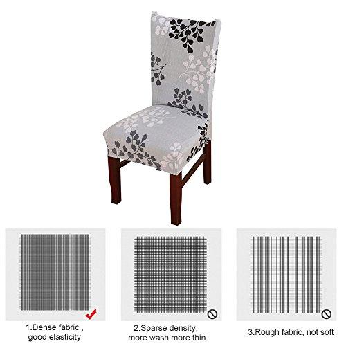 6x morbido spandex elasticizzato Fit sedie da sala da pranzo con motivo stampato, banchetto sedia sedile Slipcover per Hone party hotel cerimonia di nozze Posate da pasto B - 5