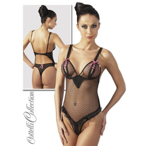 Cottelli Collection Body Ouvert Schwarz/Pink