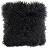 SnugrugsCoussin/oreiller en laine de mouton frisé de Mongolie 40cm x 40cm, Peau de mouton, noir, 40 cm x 40 cm