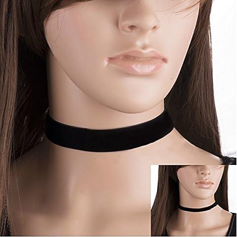 GOZAR Vintage Gothic Black Velvet Plain Frauen Kragen Halskette Lady Schmuck - 10mm