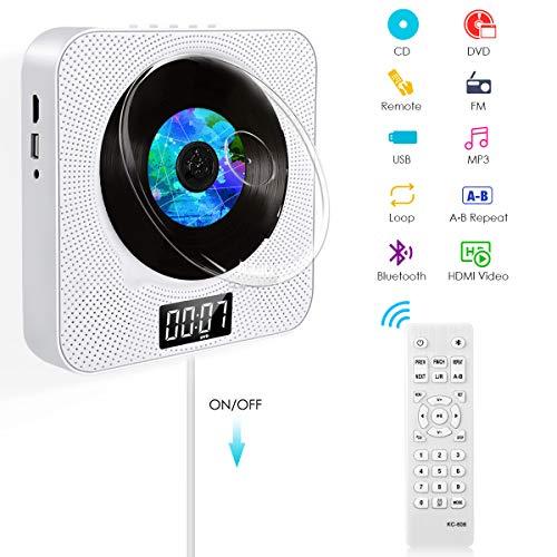 BACKTURE Lecteur DVD Portable, HD 720P/1080P HDMI/AV Adaptateur, Lecteur CD/DVD Mural pour Maison...