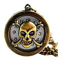 New Skullcandy Pocket Watch Chain Necklace Alloy Antique Bronze watches WPH@KTW144747A