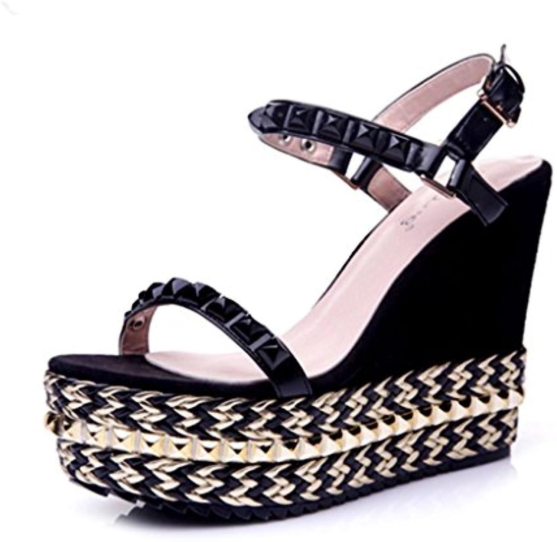 BaiLing Sandali di estate delle donne tacco tallone tallone tallone impermeabile rivetto fondo spessa scarpe di piccole dimensioni... | Fai pieno uso dei materiali  6ae23a