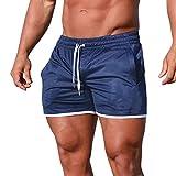 MOIKA Herren Boardshorts, Männer Sport Fitness Jogging Elastische Stretchy Bodybuilding MuscleBermuda Jogginghose Strand-Shorts Sweatshorts Badeshorts Casual Strandhosen(L,Blau)