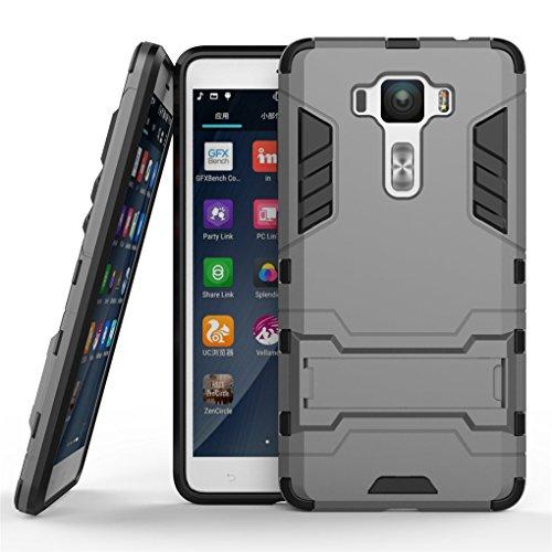 Zenfone 3 Deluxe (5.5 inch) ZS550KL Hülle, SATURCASE Hybrid 2 In 1 [PC & Silikon] Dual-Layer Stoßstange Schützend Tasche Hülle Schutzhülle Handycover mit Kippständer für Asus Zenfone 3 Deluxe (5.5 inch) ZS550KL (Grau)