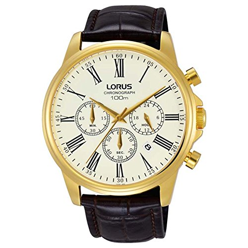 Lorus Mens Chronograph Quartz Watch with Leather Strap RT396FX9