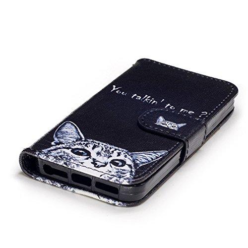 Coque iphone 5/5S/SE,MAGQI PU Cuir Flip Etui,Fonction Stand Fente pour Carte Anti-rayures Antichoc Fermeture Magnétique Prime Housse pour iphone 5/5S/SE - Chien de traîneau Chat blanc