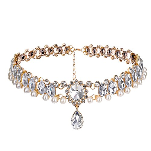 Petalum Eleery Frauen Perlen Choker Halsketten Kette Tropfen Legierung Gothic (Golden)