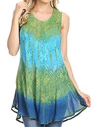 b80f0326c45e18 Sakkas 40831 Ombre Floral Tie Dye Flared Hem Sleeveless Rayon Tunic Blouse  - Green One