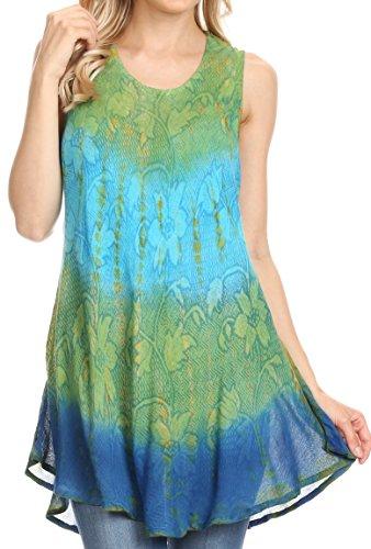 Sakkas 40831 Ombre Floral Tie Dye Flared Hem ÄrmellosRayon Tunika Bluse - Grün/One Size Plus -