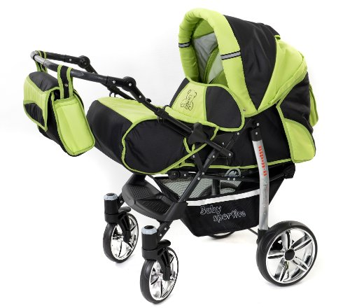 Baby Pram With Swivel Wheels Car Seat Pushchair Accessories 3 In 1 Travel System Black Green