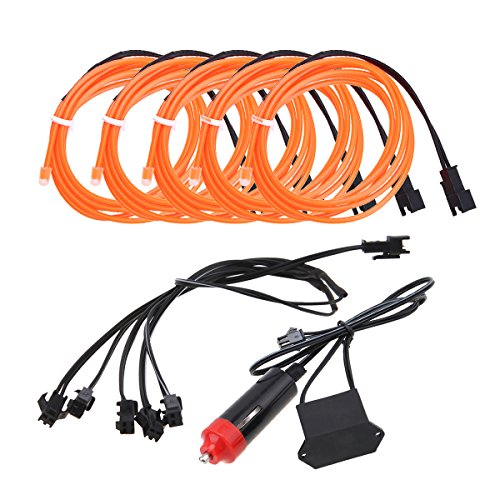 EL Kabel Wire mit Zigarettenanzünder Kontroller Flexibel Wasserdicht Innenbeleuchtung für Weihnachten Halloween Partys Kostüm Autos Dekor Geschenk ()