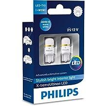 Philips 127994000KX 2 X-Tremeultinon LED Luz Interior para Coche W5W T10 4000K 12V, 2 Unidades, Blanco Cálido, Set de 2