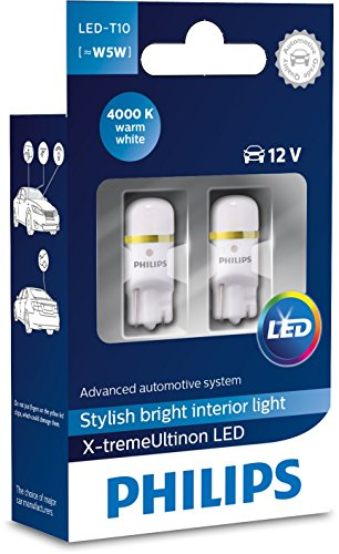 Philips 127994000KX2 X-Tremeultinon LED Interior Car Light W5W T10 4000K 12V, Set of 2, Warm White, Set of 2