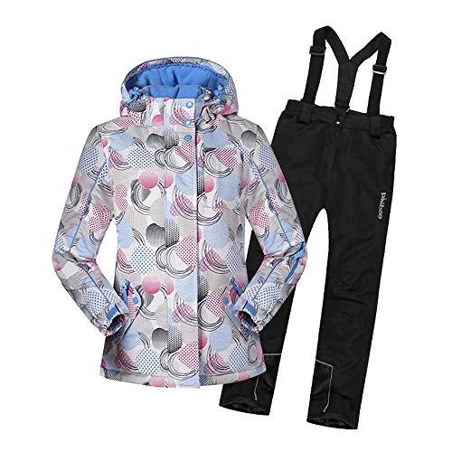 Cvbndfe Costumes de Neige pour Enfants Veste de Ski à Capuchon imperméable Coupe-Vent pour Fille avec Pantalon 2 pièces Chaud (Couleur : Noir, Taille : 158)