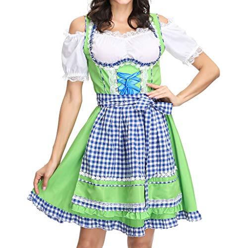 Qiuday Frauen Bier Festival Kleid Sexy Dessous Cosplay Kostüme Maid's Kleidung Damen Kurzarm Rundhals Sommer Midikleid Knielang Vintage Retro Kleider Faltenrock Trachtenkleid Dirndl Abendkleid (Bierkrug Damen Kleid Kostüm)