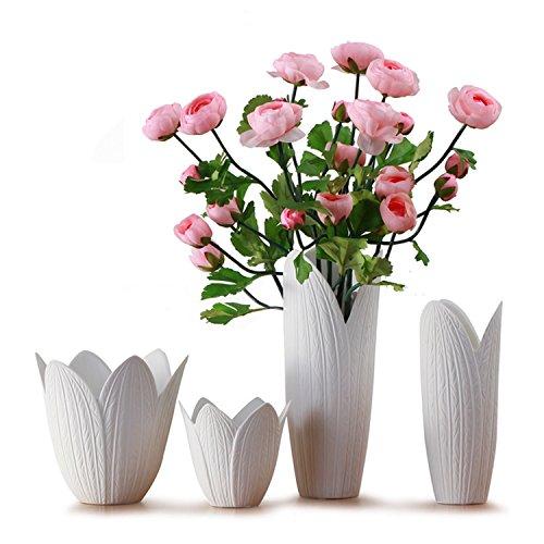 Unibest Blumenvase Blattform Tischvase Vase aus Porzellan weiß wasserdicht 4 Größe