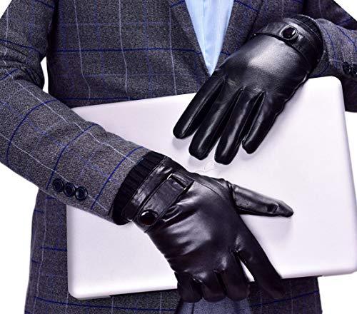 YISEVEN Herren Lederhandschuhe Gefüttert Touchscreen Warm Echtleder Handschuhe Leder Winterhandschuhe Lammfell Autofahrerhandschuhe Herrenhandschuhe Winter Männer Autohandschuhe, Schwarz XL/10.0