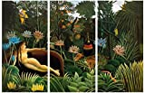 1art1 58530 Henri Rousseau - Der Traum, 1910, 3-Teilig Poster Leinwandbild Auf Keilrahmen 120 x 80 cm