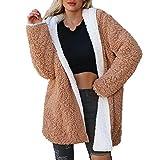 Beikoard Damen Hoodie Sweatshirt Lammfelljacke aus Wolle für Frauen Frauen einfarbig zweiseitige Mantel Jacke Winter Parka Oberbekleidung