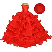 E-TING Bambole Vestiti da Sposa Rosso Vestito da Festa con il Cappello per Bambole Barbie (Bambola Non è Incluso) - Scarpe Arcobaleno Sposa