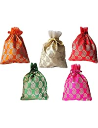 muccasacra Women's Festival and Wedding Keri Brocade Shagun Gifting Pouch Potli (Multicolour) - Pack of 9