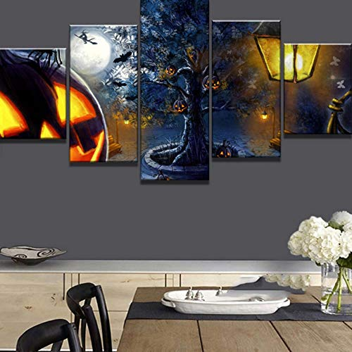 sasdasld 5 Stück Leinwand Kunst Happy Halloween Kürbis Cuadros Decoracion Gemälde auf Leinwand Wandkunst für Hauptdekorationen Wanddekor-10CMx15/20/25CM