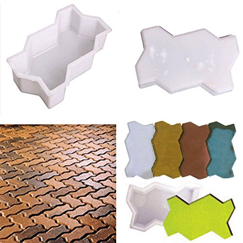 Inovey 2pcs Wave Shape Garden DIY Walking Path Maker Cement Brick Mold