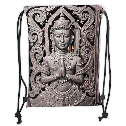 Drawstring Backpacks Bags,Asian Decor,Antique Sculpture in Traditional Thai Art with Swirling Floral Patterns Carving Japanese Decor,Bronze Soft Satin,5 Liter Capacity,Adjustable S Thai Food Carving