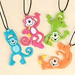 Pack Of 12 Monkey Necklaces Assorted Neon Colors - Party Favors